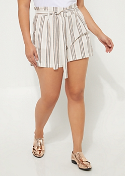 Plus Brown Striped Tie Front Shorts