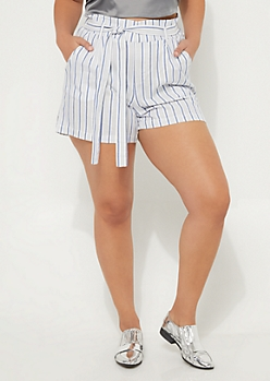 Plus Gray & White Striped Tie Front Shorts