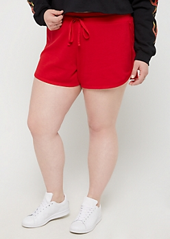 Plus Red Mesh Panel Dolphin Shorts