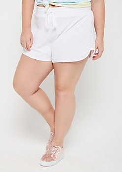 Plus White Mesh Panel Dolphin Shorts