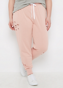 Plus Pink Distressed Jogger
