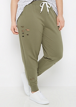 Plus Olive Ripped Jogger