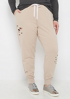 Plus Taupe Ripped Jogger