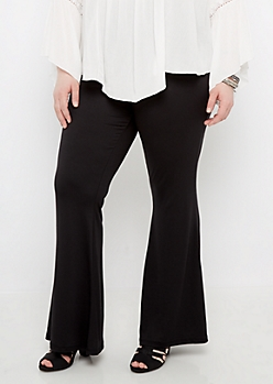 Plus Black Soft Knit Flare Pant