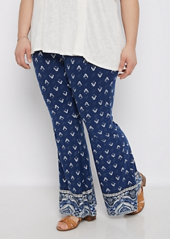 Plus Bohemian Soft Knit Flare Pant