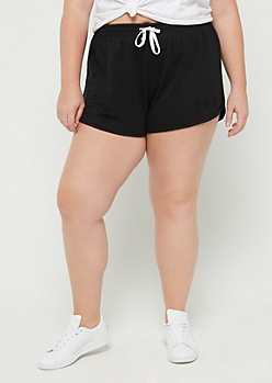 Plus Black Ripped Dolphin Short