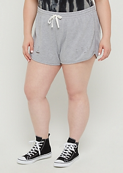 Plus Heather Gray Ripped Dolphin Shorts