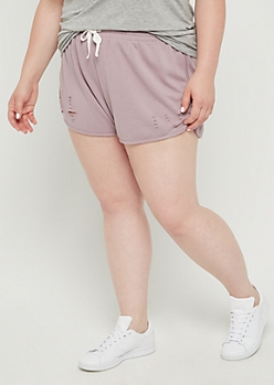 Plus Lavender Ripped Dolphin Short