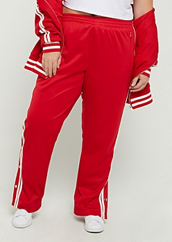 Plus Red Athletic Striped Track Pants