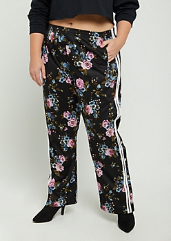 Plus Floral Athletic Striped Track Pant