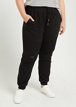 Plus Black Distressed Moto Jogger