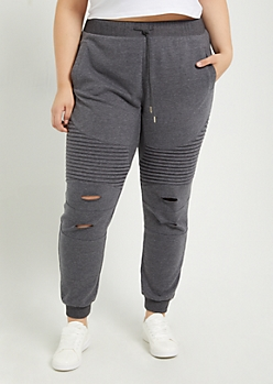 Plus Charcoal Gray Distressed Moto Jogger