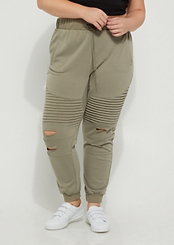 Plus Olive Distressed Moto Joggers