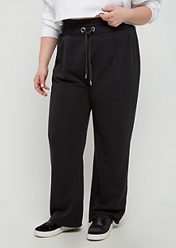 Plus Black Layered Waist Fleece Sweatpant