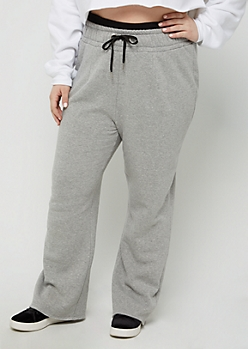 Plus Heather Gray Layered Waist Fleece Sweatpant