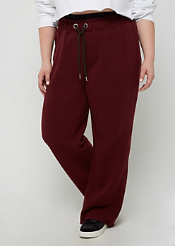Plus Burgundy Layered Waist Fleece Sweatpant