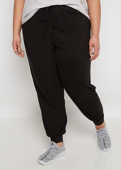 Plus Black Soft Brushed Jogger