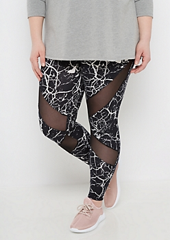 Plus Crackled Mesh Inset Soft Knit Legging