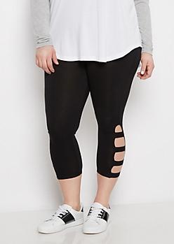 Plus Black Strappy Legging