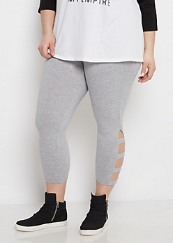 Plus Heather Gray Strappy Legging