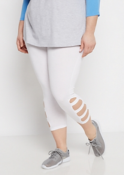 Plus White Strappy Legging