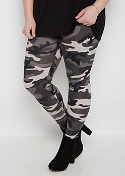 Plus Charcoal Camo Soft Knit Legging