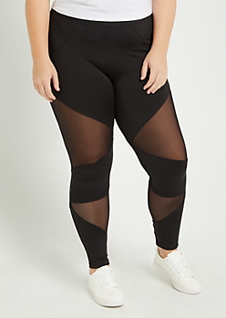 Plus Black Mesh Inset High Rise Legging