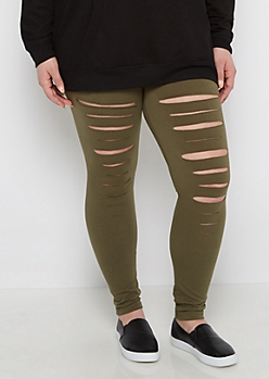 Plus Olive Ripped Legging