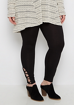 Plus Black Caged Ankle Legging