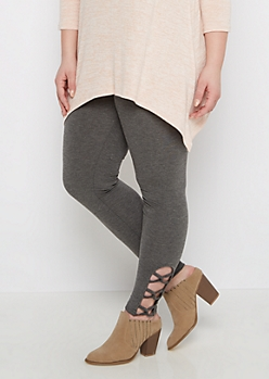 Plus Gray Caged Ankle Legging