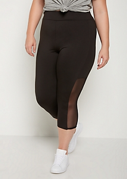 Plus Mesh Crop High Rise Legging