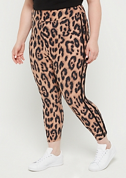 Plus Leopard Striped High Rise Cropped Legging