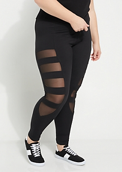 Plus Black Mesh Cutout Panel Leggings