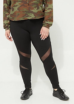 Plus Black Soft Knit Mesh Insert High Waist Leggings