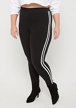 Plus Black Striped High Rise Legging