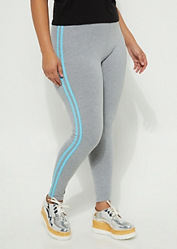 Heather Blue Stripe Legging