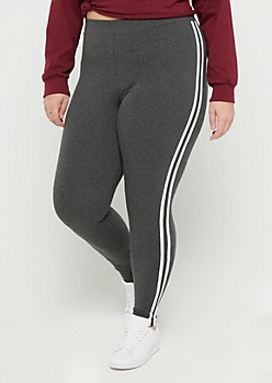 Plus Charcoal Gray Striped High Rise Legging