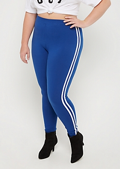 Plus Blue Striped High Rise Legging