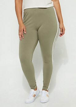 Plus Olive Striped High Rise Legging