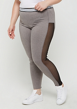 Plus Heather Gray Mesh Striped High Rise Legging
