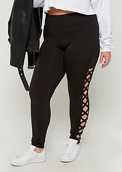 Plus Black Lattice Ankle High Rise Legging