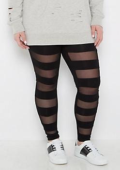 Plus Mesh Striped Legging