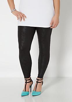 Plus Black Distressed Faux Leather Legging