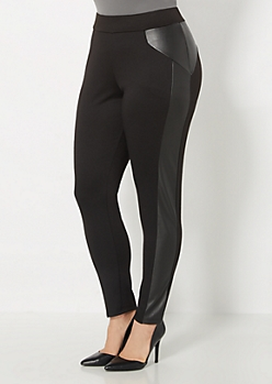 Plus Faux Leather Inset Ponte Legging