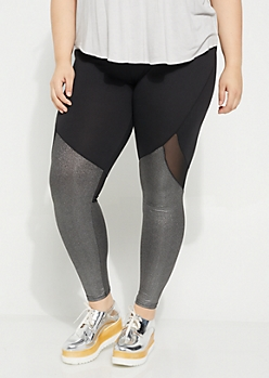 Plus Silver Metallic Mesh Paneled High Rise Legging