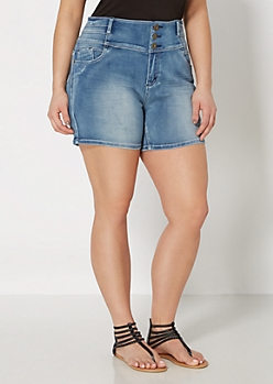 Plus Sandblasted High Waist Jean Short