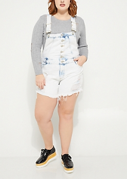 Plus Destroyed Vintage Overall Shorts