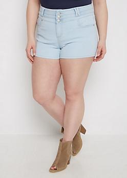 Plus Light Blue High Waist Jean Short