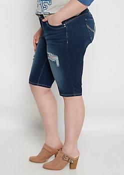 Plus Better Butt Distressed Bermuda Jean Short
