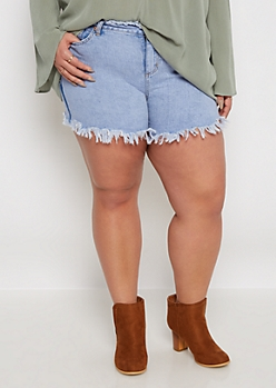 Plus Frayed Relaxed Jean Short